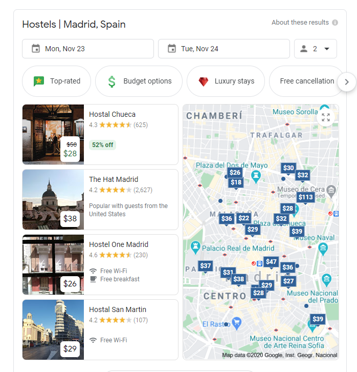 google hotel search example 2
