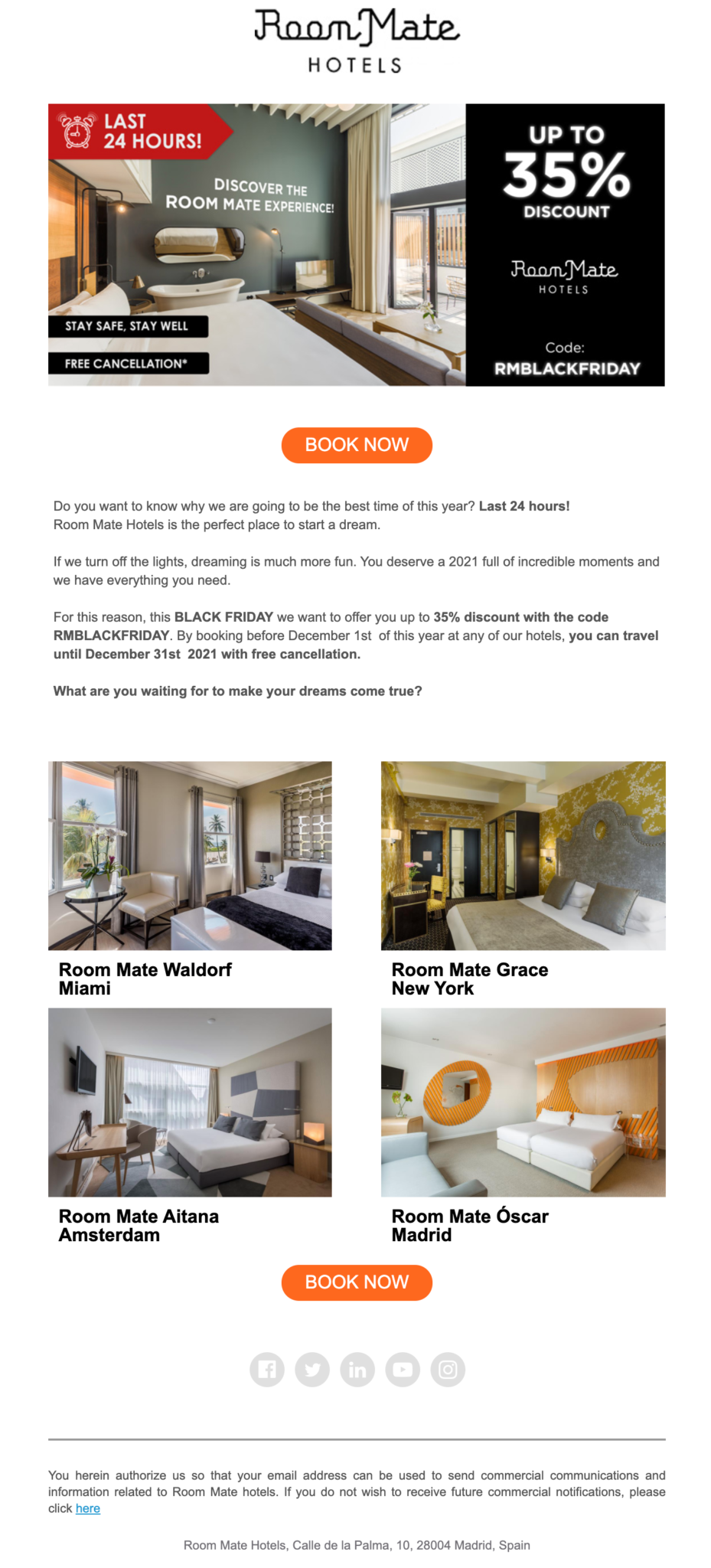 Room mate hotels email example