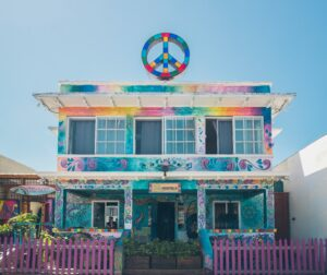 colorful USA hostel front