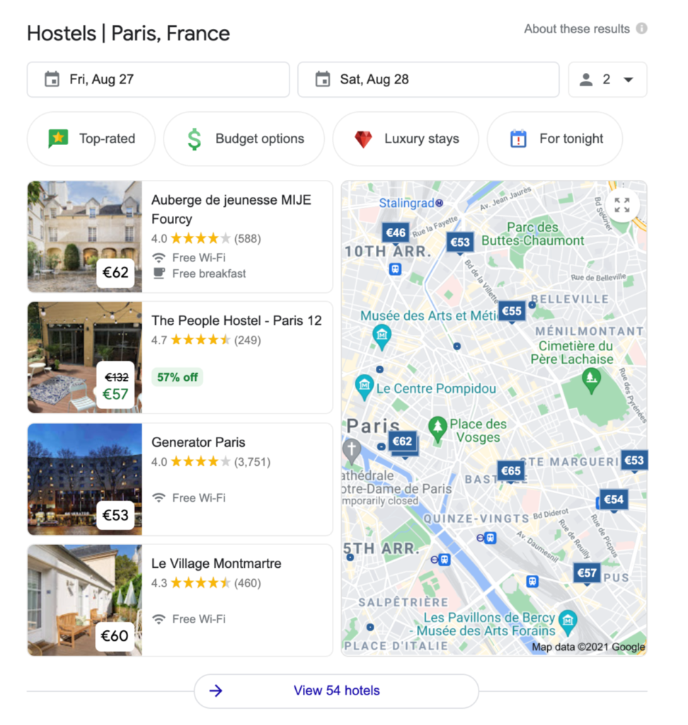 example of the search result of hostel in Paris on Google
